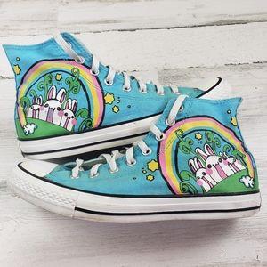 Converse Chuck high top Blue Bunny rainbow 9 shoe
